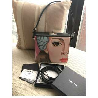 Prada   'Face-Printed'  leather handbag   **Made in Italy**  __