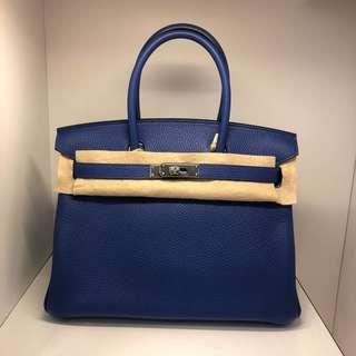正品 全新 Hermes Birkin 30 電光藍銀扣手挽袋