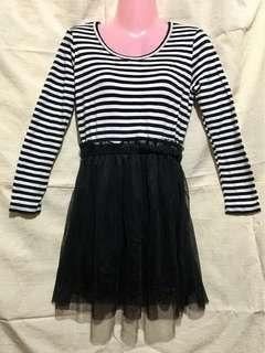 Black & White Stripe Long Sleeves Twofer Tutu Dress