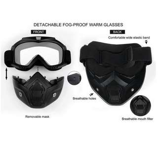 Full mask with detachable goggle