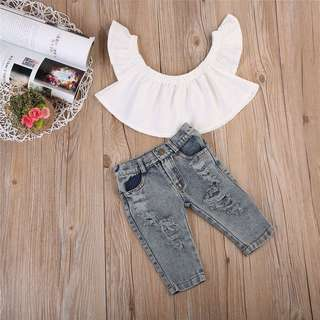 SET BLOUSE + JEANS GIRL ~READY STOK~