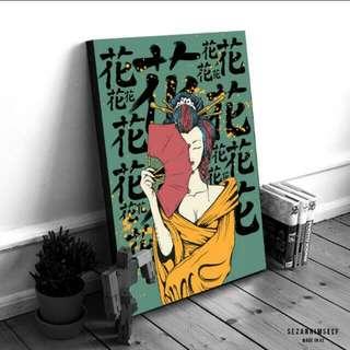 Japan Geisha Art Wooden Poster Frame