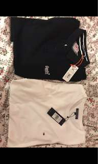Black superdry polo and Tommy Hilfiger white top