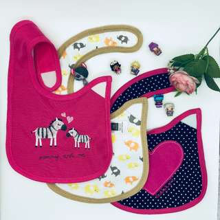 [ 3 BIPS ] Cute Waterproof Baby Bibs 100% Cotton (READY STOCK-FAST SHIPPING!)