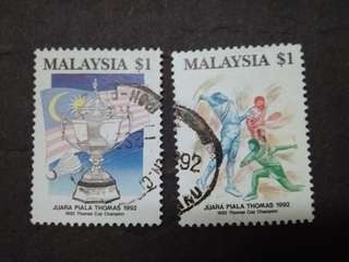 Malaysia 1992 Thomas Cup Champion Complete Set - 2v Used Stamps