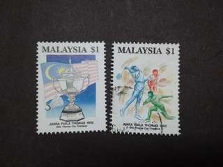 Malaysia 1992 Thomas Cup Champion Complete Set - 2v Used Stamps #1