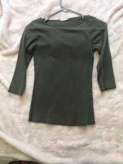 Zara green 3/4 sleeve shirt