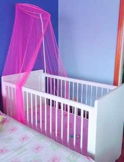 Wooden Crib w/ Mattress & Canopy
