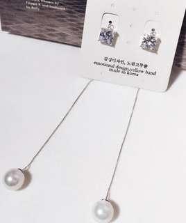 韓國飾物 珍珠 方石 耳環