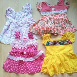 4 pcs of baby girl dress
