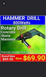 ROTARY HAMMER DRILL(800Watts) for any concrete wall.  What your impact drill can't drill - This Rotary will do it.   (Brand new in box & sealed) . Usual Price:$ 99.90  Special Price:$ 69.90