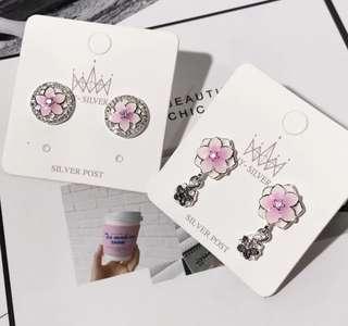 韓國 925銀針 飾物 耳環 閃石 桃花