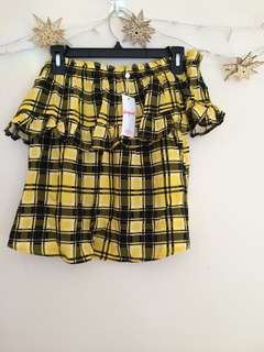 Yellow Plaid Off Shoulder Top