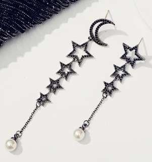韓國耳環 黑色閃石 月亮 星星 珍珠