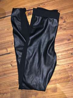 Black faux leather pants size 8