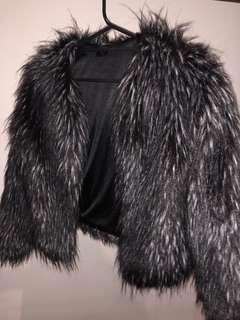 Black and white faux fur jacket