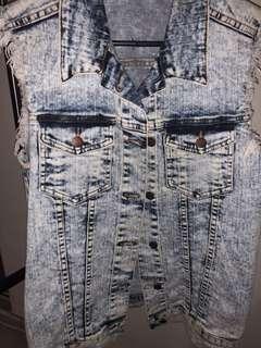 Oversized denim vest