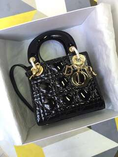 Lady Dior Mini 17cm patent leather