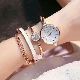 Wrist watch set with bracelets