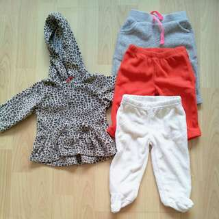 Bundle Carter's Leopard jacket and 3 pants 3M