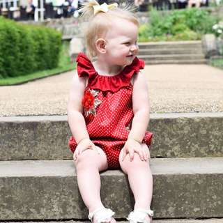 🚚 ✔️STOCK - RED POLKA COLLAR WITH FLOWER EMBROIDERY ROMPER NEWBORN BABY TODDLER GIRL ONESIE KIDS CHILDREN CLOTHING