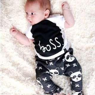🚚 ✔️STOCK - 2pc BLACK BOSS SHORT SLEEVES SHIRT TOP & PANDA LEGGING PANTS SET BABY TODDLER BOY KIDS CHILDREN CLOTHING