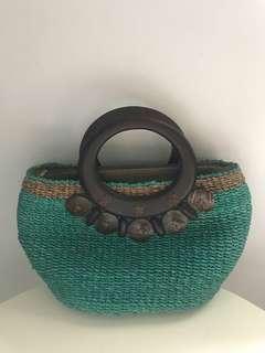 Turquoise Woven Handbag