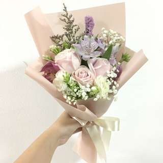 Birthday Bouquet in Pink Roses with Mix Flowers and Baby Breath