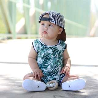 🚚 ✔️STOCK - GREEN PALM - STRIPE REVERSIBLE SHORT SLEEVES PANTS ROMPER UNISEX BABY TODDLER BOY/GIRL ONESIE KIDS CHILDREN CLOTHING