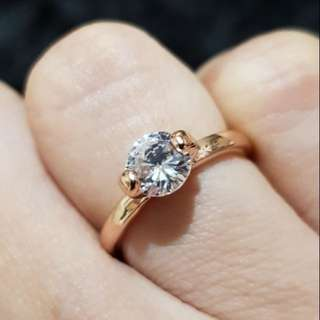 Rose Gold Solitaire Ring (Size 5)