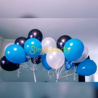 TURQUOISE, WHITE AND BLACK HELIUM BALLOONS