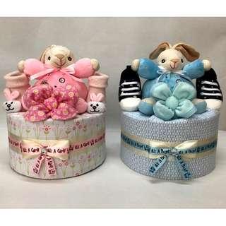 1 tier bunny diaper cake