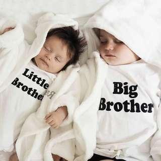 🚚 ✔️STOCK - CLASSIC WHITE LITTLE BABY ROMPER BIG BROTHER MATCHING TODDLER BOYS TEE SHIRT TWINNING KIDS CHILDREN CLOTHING