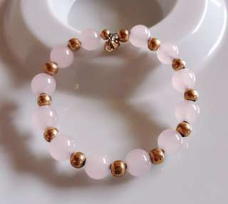 Timeless Genuine Rose Quartz stones with Stainless Gold Balls Bracelet