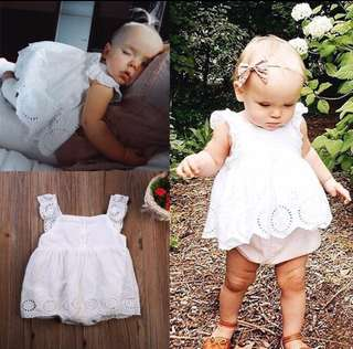Newborn Baby Girls Romper Jumpsuit Lace White