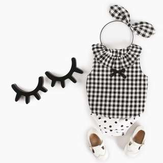 🚚 ✔️STOCK - 2pc GINGHAM BLACK BOW RIBBON BLOUSE COLLAR TOP & WHITE POLKA BLOOMER SHORTS SET NEWBORN BABY TODDLER GIRL KIDS CHILDREN CLOTHING