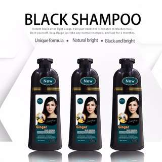 Ginger Herbal Hair Dye Shampoo. Black Colour. Natural and Organic. Safe and Easy to use.