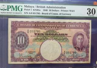Malaya Straits 1940 $10 George Board Commissioners Currency