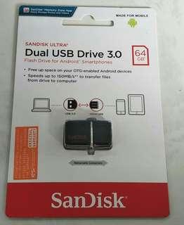 Brand New Sealed Dual USB Drive 3.0 64GB