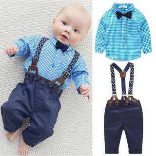 🚚 ✔️STOCK - RAYA 2pc BLUE GINGHAM SHIRT SUSPENDER TOP & LONG TROUSER PANTS SET NEWBORN BABY TODDLER BOY KIDS CHILDREN BIRTHDAY PARTY CLOTHING