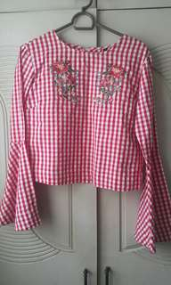 Gingham Top with Embroidery