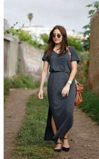 🐋Maxi  dress with slit and belt