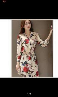 Korea Polo Floral Dress with Actual Picture
