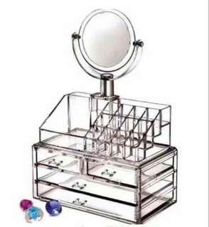 Make up organizer with mirror