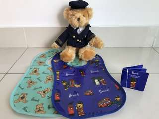 HARROD'S Baby Bibs & Matching Bear