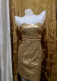 Gold sequined tube dress