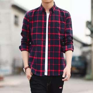 M-4XL Strip design long sleeve shirt