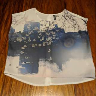 H&M Japanese Cherry Blossoms White Graphic Blouse Work