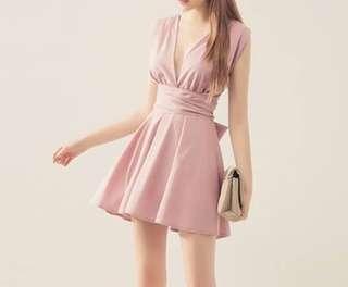 🚚 #韓妞最愛高品質v領交叉蝴蝶結洋裝