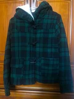 🚚 二手/格子外套 綠色